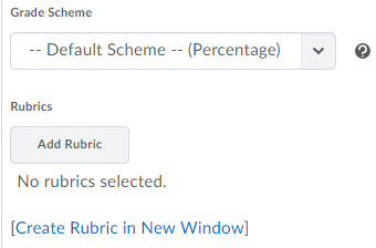 Image of the Grade Scheme and Rubric options for a grade item.