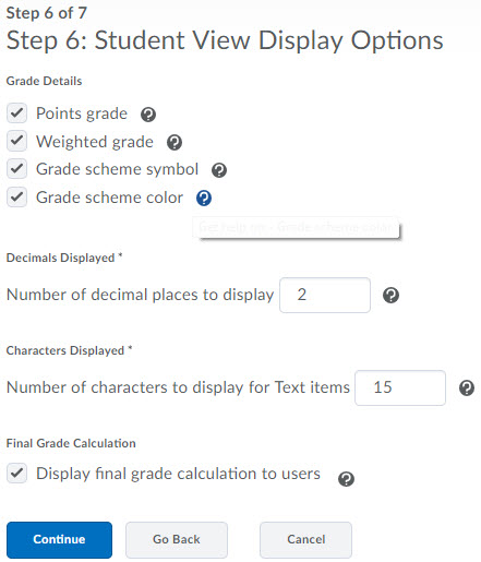 Image of the 6th step of the grades setup wizard.