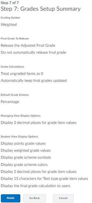 Image of the 7th step of the grades setup wizard.