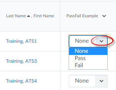 image of a Pass/Fail grade item open for grading with the grade column and feedback icons highlighted.