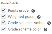 Image of the grade details setting options (points grade, weighted grade, scheme symbol and color.)