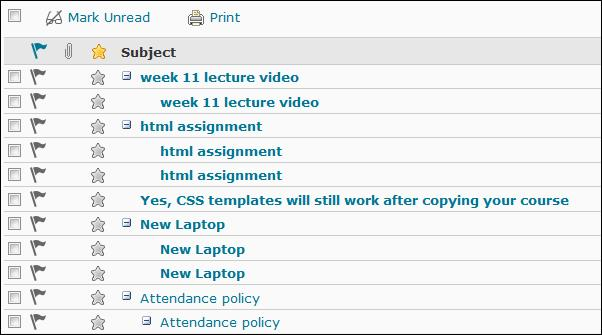 Image of a Discussion board topic in grid view