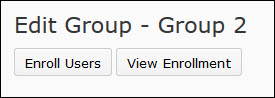 image of the enroll users button and the view enrollment buttons found on the edit group page