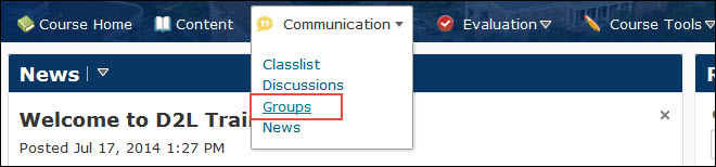 image of the course nav bar with the groups tool selected