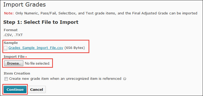 Image of the Import Grades screen.