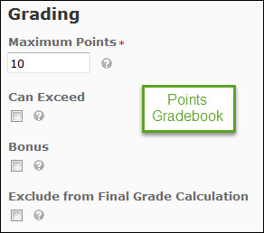 Image of the grading options for a grade item within a ponts gradebook (Maximum points, can exceed, bonus, and exclude from final grade calculation).