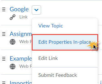 Image of the topic context menu with Edit Properties in Place selected
