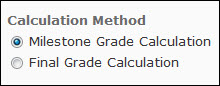 Image of the Calculation Methods for a calculated item in a weighted gradebook