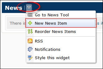 image of the expanded news widget context menu (go to news tool, new news item, reorder news items, rss)