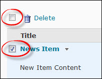 image of the delete news item checkboxes