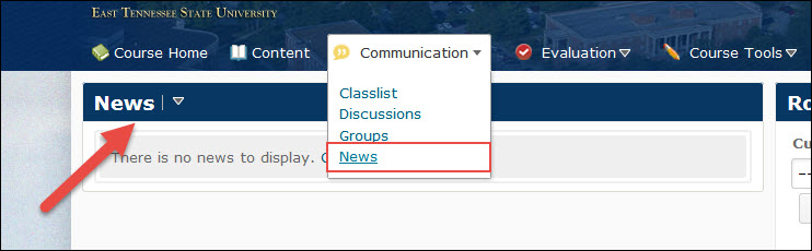 image of the news tool in the default course nav bar along with the position of the news widget
