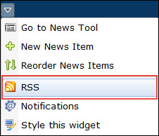 image of the expanded news widget context menu (go to news tool, new news item, reorder news items, rss, notifications)