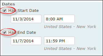 Image of the Start and End Dates on the Restrictions tab of the Edit Survey Page.
