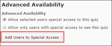 Image of the Add Users to Special Access button located on the Restrictions tab of the Edit Survey page