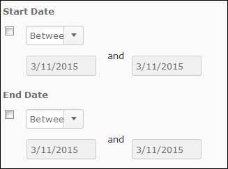 Image of the Manage Dates Dates Filter options