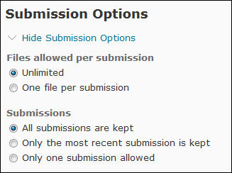 Image of the Dropbox submission options
