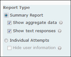 image of the report type settings
