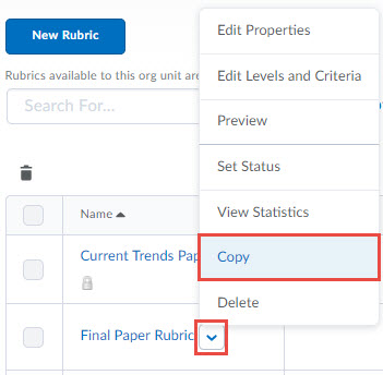 image of rubric context menu witht he following options in order: edit properties, preview, set status, view statistics, copy (selected)