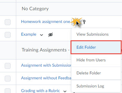 image of a dropbox folder context menu in order: View Submissions, Edit Folder (selected)