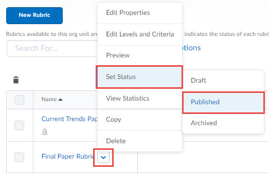 Image of the Context menu of a rubric with status fly out menu. When selecting the Set Status option, a fly out menu appears with the following options in orderL Draft, Published, Archived.
