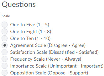 Image of the likert question scale options