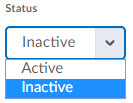 Image of the Status Options (Inactive/Active) on the Restrictions tab of the Edit Survey Page.