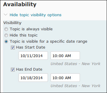 image of the availability dates on the edit topic page