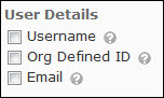 Image of the user details options (username, org defined id, and email).