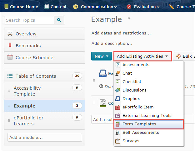 Image of the Add Existing Activities button within a Content module expanded and the Forms Template option circled.