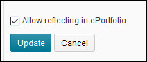 Image of the Allow Reflecting in ePortfolio option within the content topic's activity details page.