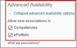 Image of the Advanced Availability section of the Rubric Properties page with ePortfolio option marked.