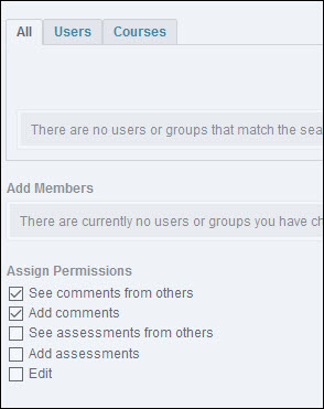 Image of the Add Users to Sharing Groups page with the Permissions options available.