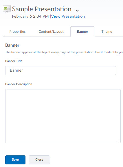 image of the banner tab of a presentation