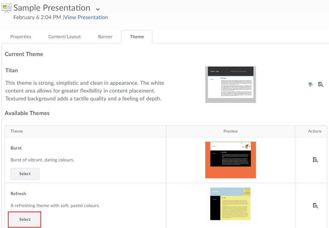 image of the theme tab of a presentation