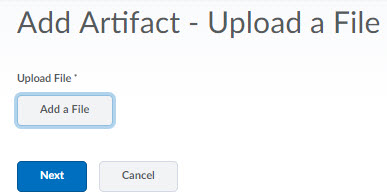 Image of the Add-Artifact  - upload a file screen.