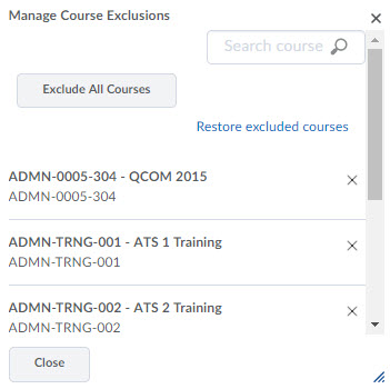 Image of the Manage Course Exclusions pop-up window.