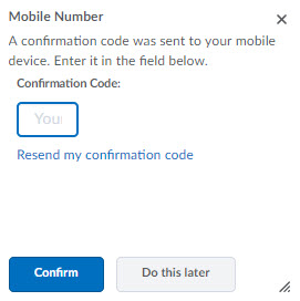 Image of the Mobile NUmber confirmation code pop-up window.