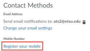 Image of the Contact Methods section of the Notifications set up page with the Register your mobile hyperlink circled.