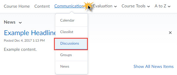 Discussion Board Toolbar