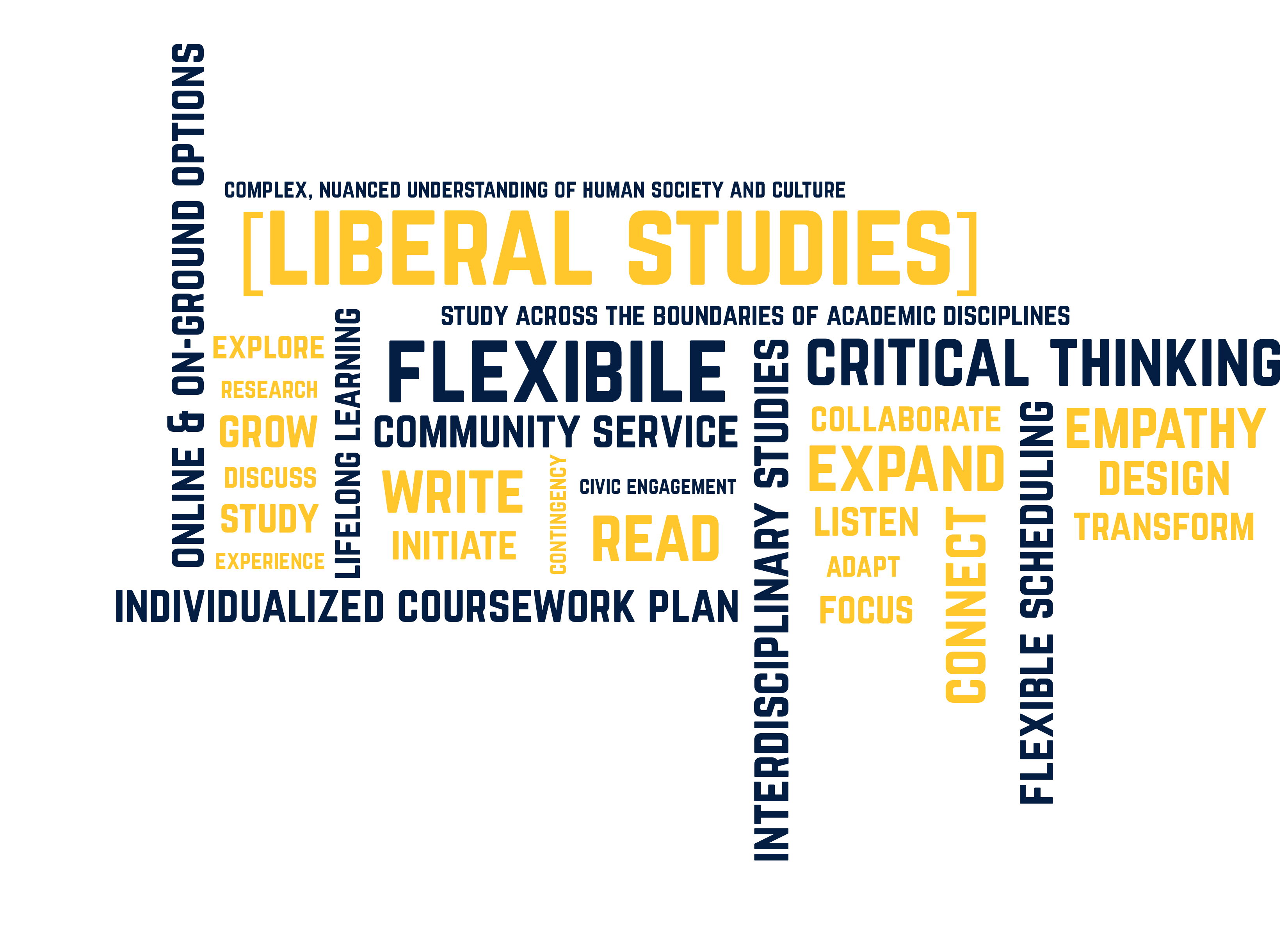 Liberal Studies: Complex, nuanced understanding of human society and culture; study across the boundaries of academic disciplines; individualized coursework plan; civic engagement; inetrdisciplinary studies; critical thinking; lifelong learning; flexible scheduling; online and on-ground options; explore; research; growth; discussion; study; experience; community service; skills; adaptability; education; read; collaborate; listen; expand; initiative; focus; connect.