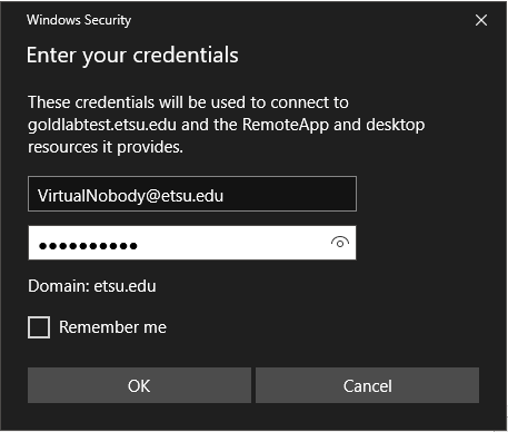 GoldLab RemoteAccess - Credentials.