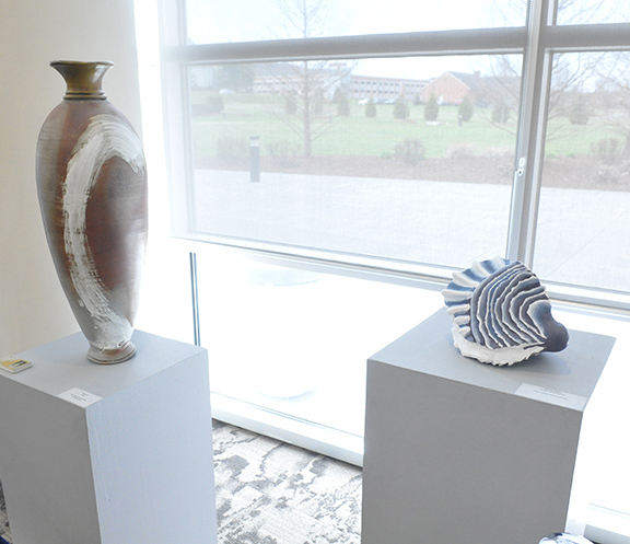 student sculptural pieces in gallery