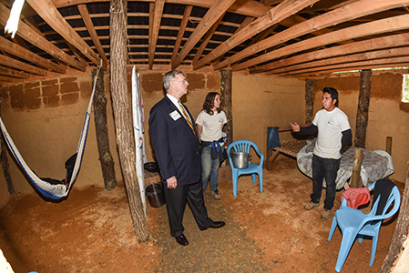 Scott Niswonger, a local businessman and philanthropist and chairman of the ETSU Board of Trustees, tours the teaching village at ETSU's Eastman Valleybrook campus.