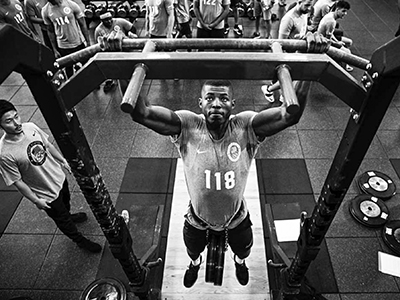 LaDarren Landrum, black-and-white weightlifting photo (contributed)