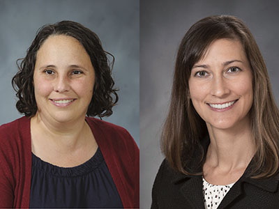 Drs. Emily Donald (left) and Rebecca Milner, side-by-side studio portraits
