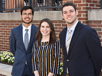 From left-right: Aamir Shaikh, Tiffany Cook and Noah McGill were elected president, executive vice president, and vice president for finance and administration, respectively, for the 2019-20 academic year at ETSU.