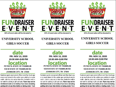 Girls Soccer Fundraiser Event at Petro's