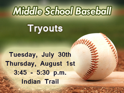 Middle School Baseball Meeting on Thursday, July 25th
