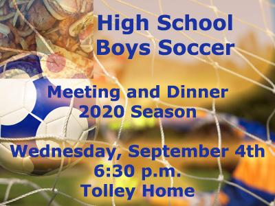 HS Boys Soccer Meeting and Dinner for 2020 Season