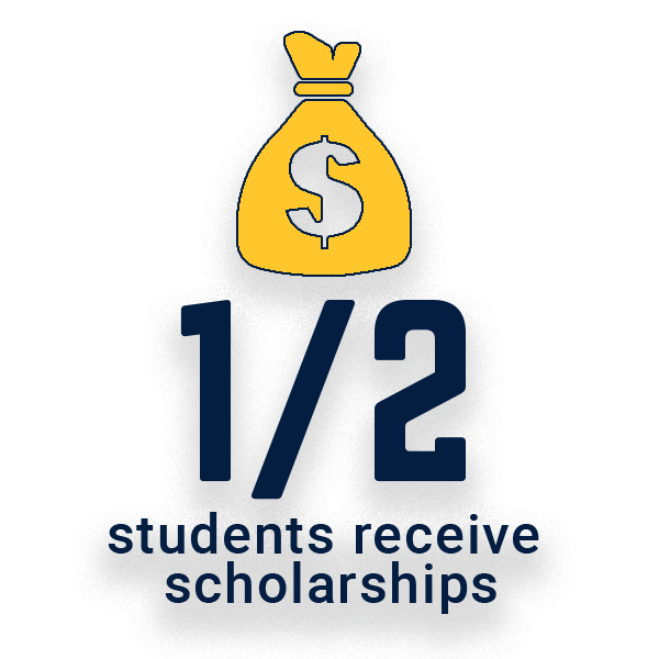 Half of students receive scholarships